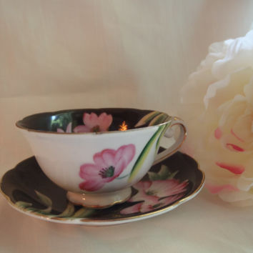Vintage Tea Cup and Saucer , Porcelain Cup Black and Pink , China Porcelain , Collectible Cup