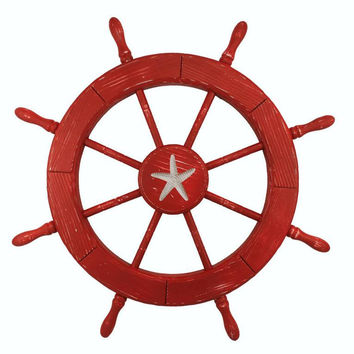 Wooden Starfish Red Decorative Ship Wheel 30""