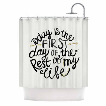 """Pom Graphic Design """"Today Is The First Day"""" Black Gold Typography Illustration Shower Curtain"""