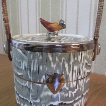 Circa 1934 Faux Bois Black English Transferware Ice Bucket Biscuit Barrel with Rattan Handle Silver Shield Wood Grain Antler Shaped Details STUNNING