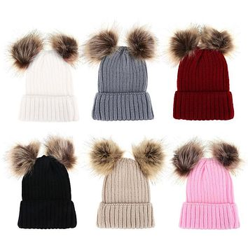 fea7ffbc424 Family Matching Hat Baby Girls Boys Autumn Winter Warm Hat Caps