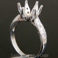 Flower 9.5mm Round Cut 14K White Gold Pave .38ct Diamond Wedding Semi Mount Ring