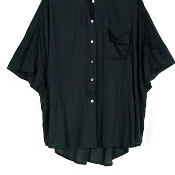 Asymmetrical Tops Batwing Sleeve Female Chiffon Shirts Casual Solid Single Button Blouses Shirts