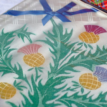 Hand Painted Vintage Tablecloth in original box Irish rayon thistle design in ivory, purple mauve, blue, mustard gold and green