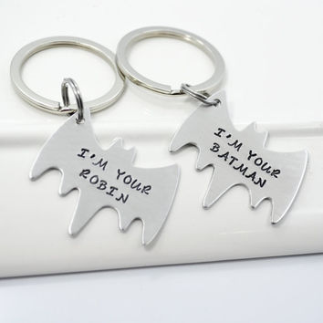 Batman Personalized Hand Stamped Best Friend Keychain Set | Couple Keychain Set | Batman and Robin