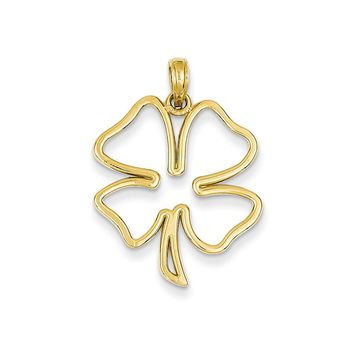 14k Yellow Gold Open Four Leaf Clover Pendant, 21mm (13/16 inch)