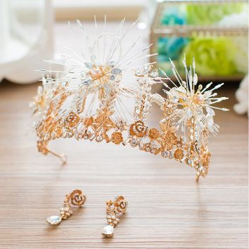 Bridal Tiaras and Crowns Gold Rhinestone Flower Large Queen Crown Wedding Cosplay