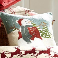 Snowman Embroidered Pillow Cover   Pottery Barn