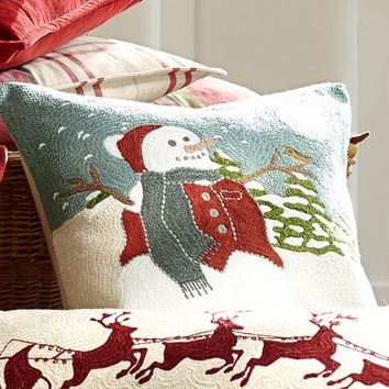 snowman embroidered pillow cover pottery barn - Pottery Barn Pillow Covers