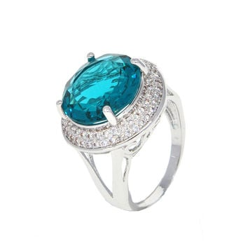 Dear Deer White Gold Plated Ocean Blue Cubic Zirconia Round Classic Cocktail Ring