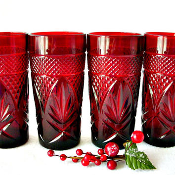 Ruby Red Glassware, Christmas Glasses, Cristal D'Arques Durand Glassware Antique Tumblers, Set of 4, Pressed Glass French Coolers