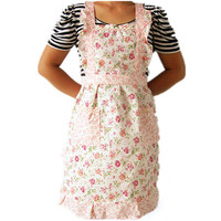 Hot Sell Beautiful Women Home Kitchen Cooking Bib Flower Style Pocket Lace Apron Dress Free Shipping