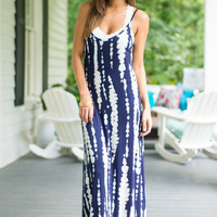 Tie Dye For Design Maxi Dress, Navy