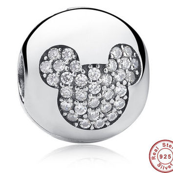 Sterling Silver 925 Whimsy Fun Mickey Pave Clip Charms and beads Fit PANDORA Bracelet