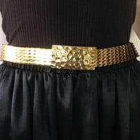 Vintage Gold Belt Stretch Belt Metal Scale Belt Disco Belt 90s Belt