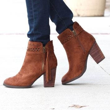 Not Rated: Chamonix Suede Perforated + Tassel Bootie {Tan}
