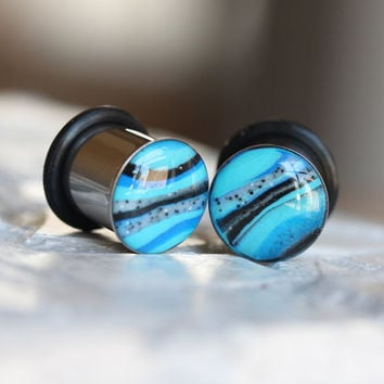 00g Blue Ear Gauges, Blue Plugs, 10mm Plugs, Clay Plugs, Single Flare, Stretched Ears - size 00g (10mm)