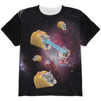 CREYCY8 Taco Galaxy Cat All Over Youth T Shirt