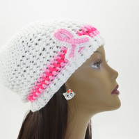 Crocheted Breast Cancer Awareness Hat