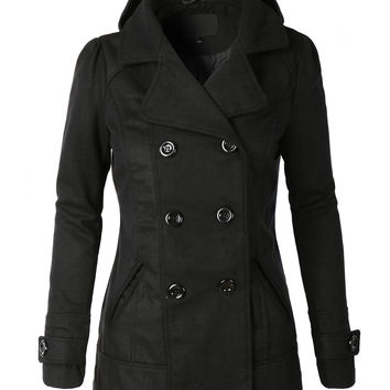 LE3NO Womens  Classic Wool Double Breasted Pea Coat Jacket With Hoodie (CLEARANCE)