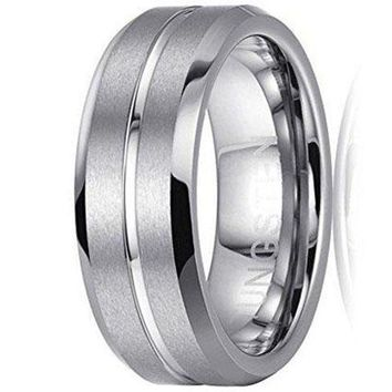 8mm Memorial Rings High Polished Center and Matte Finish Tungsten Ring Wedding Band