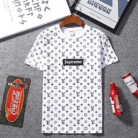 LV Louis Vuitton & Supreme co-branded men's and women's round neck short-sleeved T-shirt F-A-KSFZ white