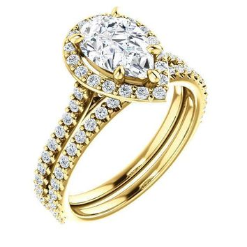 Pear Moissanite Diamond Accent Ice Halo Bezel Ring