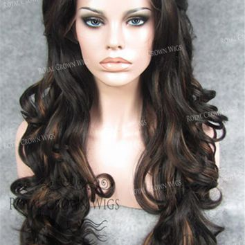 """26"""" Heat Safe Synthetic Lace Front in Curly Texture """"Calypso"""" in Dark Brown/Reddish Blonde Mix"""
