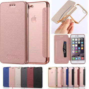 Flip Wallet Leather Phone Case For iPhone 7 Plus 6 6S Plus 5 5S Clear Soft Back Card Holder Cover For Samsung Galaxy S7 S6 Edge