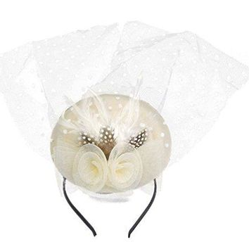 Antjoint Fascinators Hat Pillbox Hat Flower Dots Veil Derby Hat Cocktail Wedding Church Tea Party