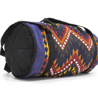 Duffle Bag • Guatemalan Style Boho • Vintage Duffle Bag • Retro Tote • Multicolor Weekender • Tribal Print Luggage • Bohemian Bag