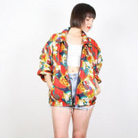 Vintage 80s Jacket Bomber Jacket Baroque Print Silk Slouch Fit Windbreaker Jacket Track Jacket Paisley Red Yellow Gold Seashell M L Large XL