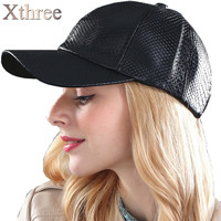 [Xthree] fashion Baseball Cap women fall faux Leather cap hip hop snapback Hats For men winter hat for women