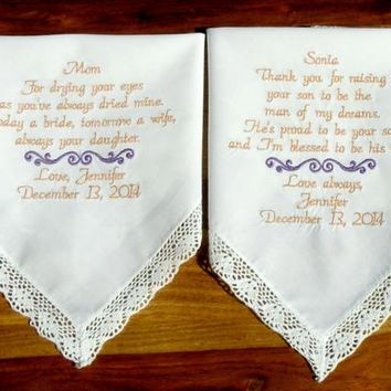 Wedding Gifts, Embroidered Wedding Handkerchief, Gift for Mom, Mother of the Bride, Groom, gift for mom from son, daughter, Wedding Gifts
