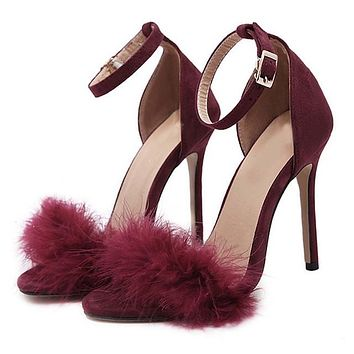 Furry Ankle Strap High Heel Sandals 3 Colors 6e6899788