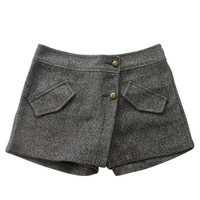 Gray Button Front Layered Shorts - Choies.com