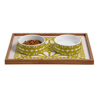 Natalie Baca Fiesta De Flores In Olive Pet Bowl and Tray