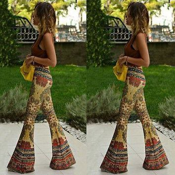 Fashion Women Flared Legged Palazzo Bell Bottom Boho floral Pants Stretch High Waist y