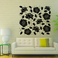 Flower Wall Decals Many Roses Flowering Blossom Stickers Living Room Decor Vinyl Decal Sticker Art Spa Wall Decor Nursery Room Decor MR318