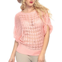 Salmon Knitted Over Sized Top