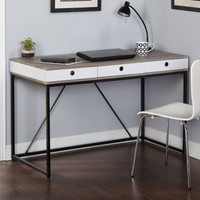 Chelsea Desk with 3 Drawers, Black/Gray/White - Walmart.com