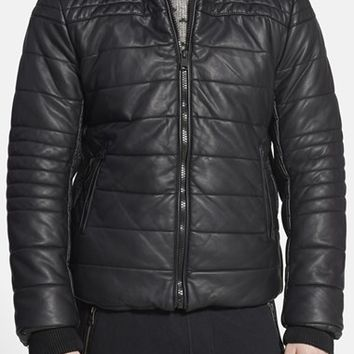 Men's Rogue Black Faux Leather Quilted Puffer Jacket,