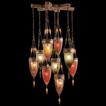 Fine Art Lamps 611040-6ST Scheherazade Nine-Light Pendant in Aged Dark Bronze Finish with Hand Blown Glass in Vibrant Oasis Green, Amber Dunes and Sunset Red Glass Colors