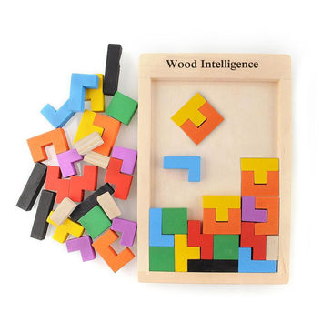 Wooden Toys for Children Tangram Brain Teaser Puzzle Toys Tetris Game Educational Kid Jigsaw Board Toy Gifts