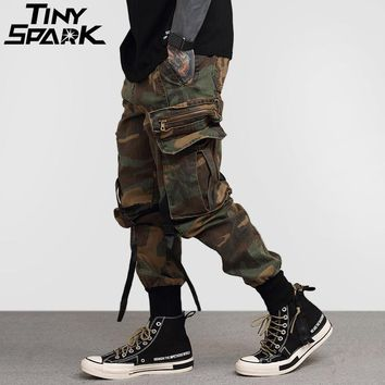 Men Hip Hop Pant Side Pockets Vintage Camouflage Cargo Pant Street wear Casual Harem Pant Military Tactical Trousers