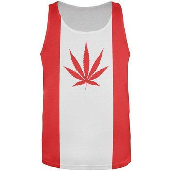 ESBGQ9 Canada Flag Pot Leaf Marijuana All Over Mens Tank Top