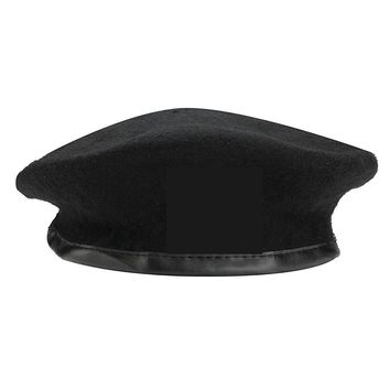 Men Women Military Soldier Army Hat Wool Solid Beret Beanie Cap