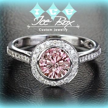 Peach Pink Moissanite Engagement Ring 1ct Round Peach Pink Moissanite in a 14k Whie Gold Diamond Bezel Halo Setting
