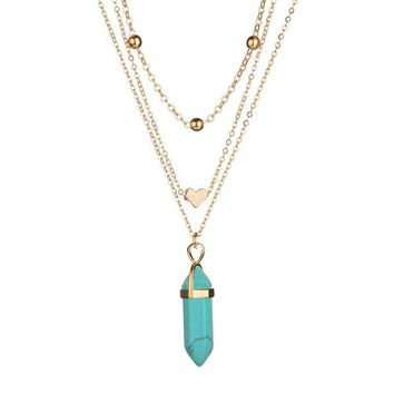 MissCyCy 5 Colors Natural Opal Stone Heart Choker Necklace for Women Bohemian Multi Layer Crystal Necklace Vintage Jewelry