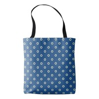 Modern blue and beige circles tote bag